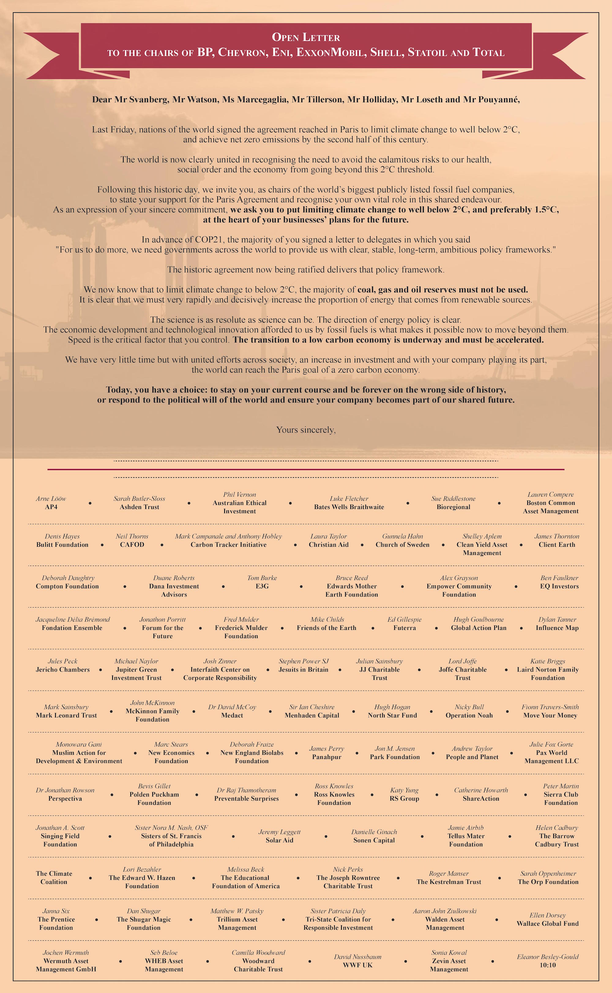 Civil society letter to fossil fuel companies.FT advert.Online